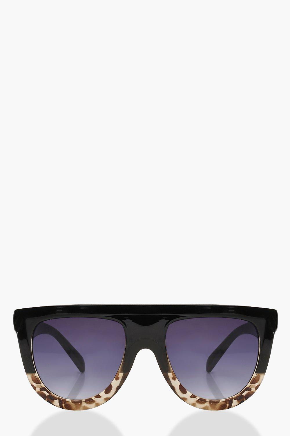 71038177bb Leopard Oversized Flat Top Sunglasses. Hover to zoom