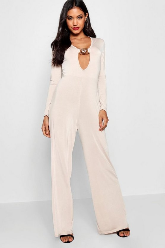 Callie Gold Statement Buckle Jumpsuit