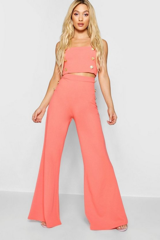 Button Detail Wide Leg Trousers