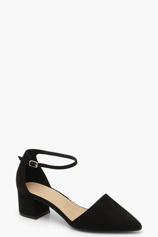 Wide Fit Low Block Pointed Heels