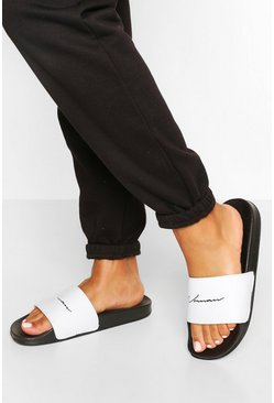 "Black ""Woman"" sliders med slogan"