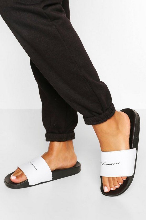 Womens Black Woman Slogan Sliders