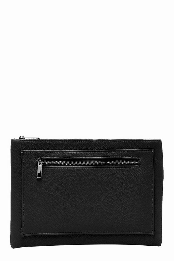 Womens Black Paula Pocket Detail Zip Top Clutch