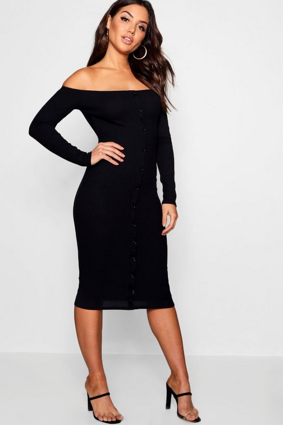 Bardot Button Midi Rib Knit Dress