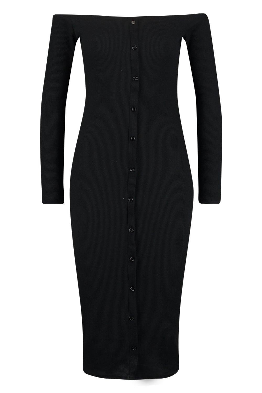de negro midi en punto con canalé Bardot estilo botones Vestido fFUqvv