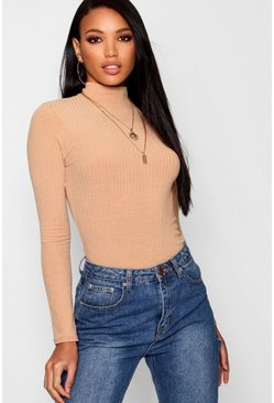 Womens Camel Rib Knit Turtle Neck Jumper