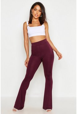 Womens Berry High Waist Basic Skinny Flares