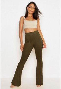 Womens Khaki High Waist Basic Skinny Flares