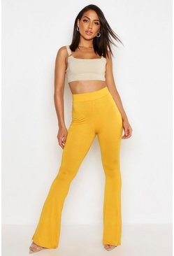 Womens Mustard High Waist Basic Skinny Flares