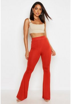 Womens Rust High Waist Basic Skinny Flares