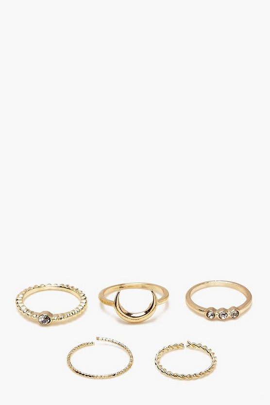 Womens Gold Simple Moon & Diamante Ring Set