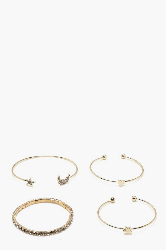Diamante Moon & Star Bangle Set