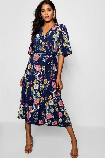 Womens Navy Nancy Angel Sleeve Floral Wrap Midi Dress