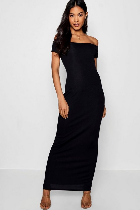 Womens Black Kori Off The Shoulder Ribbed Maxi Dress