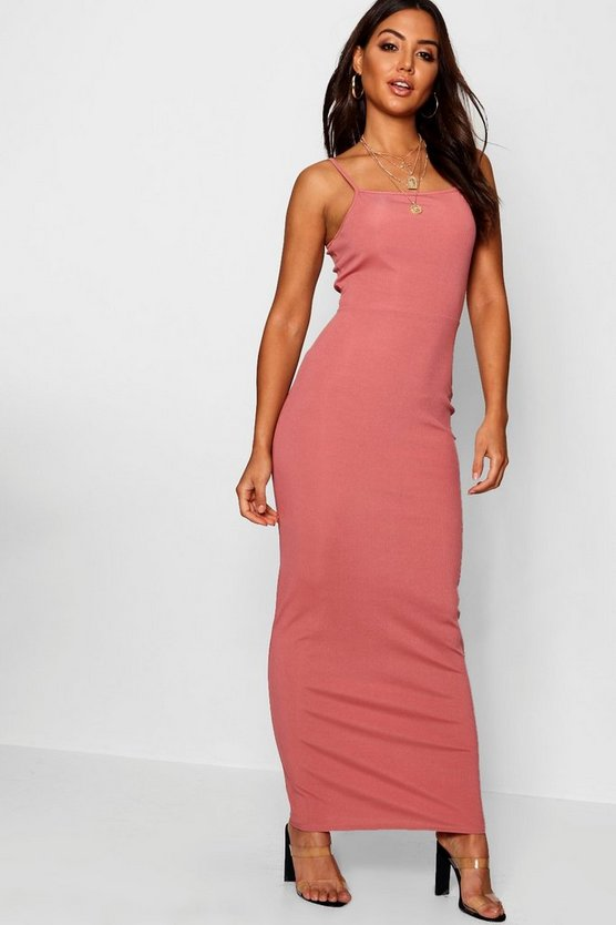 90's Neck Ribbed Maxi Dress