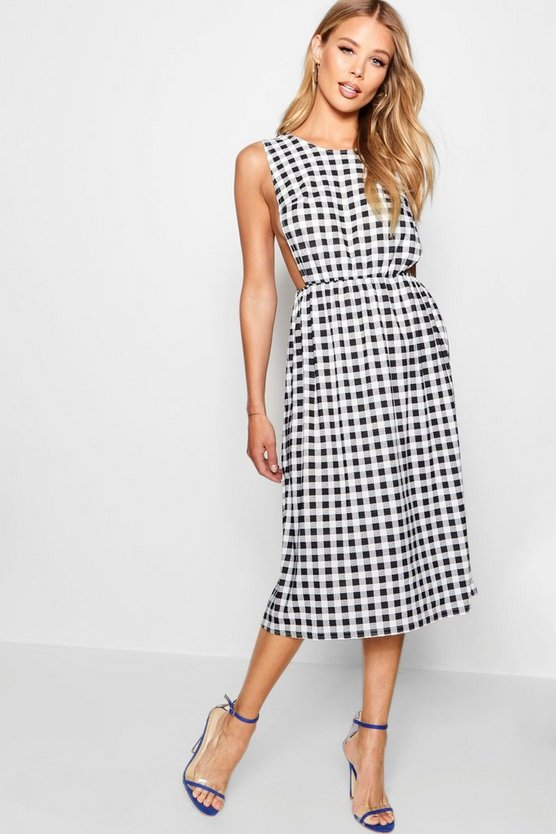 Sasha Plunge Front Gingham Skater Dress