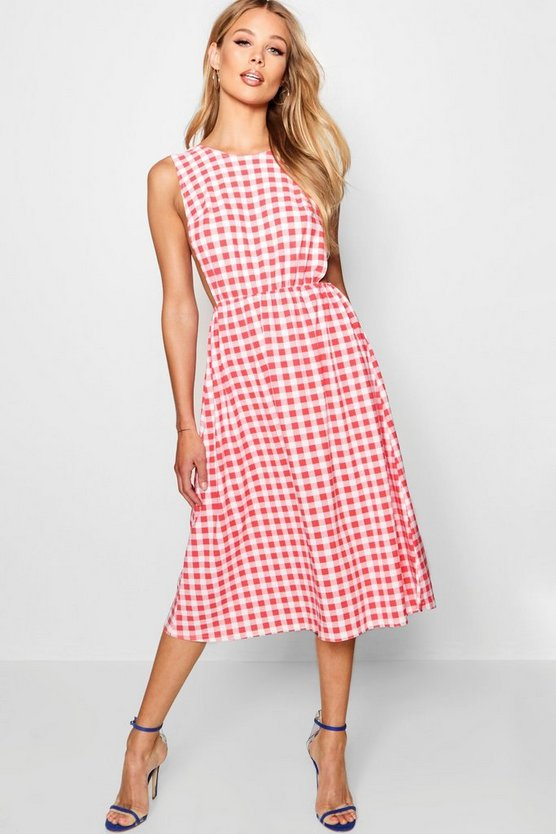 Womens Red Open Side Gingham Skater Dress