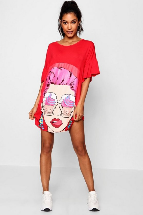 Flared Sleeve Face Print T-Shirt Dress