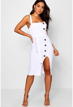 Womens White Button Detail Square Neck Midi Dress
