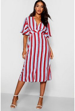 Womens Red Striped Flared Sleeve Midi Dress