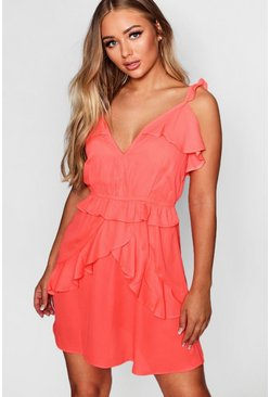 Womens Coral Multi Ruffle Woven Tea Dress