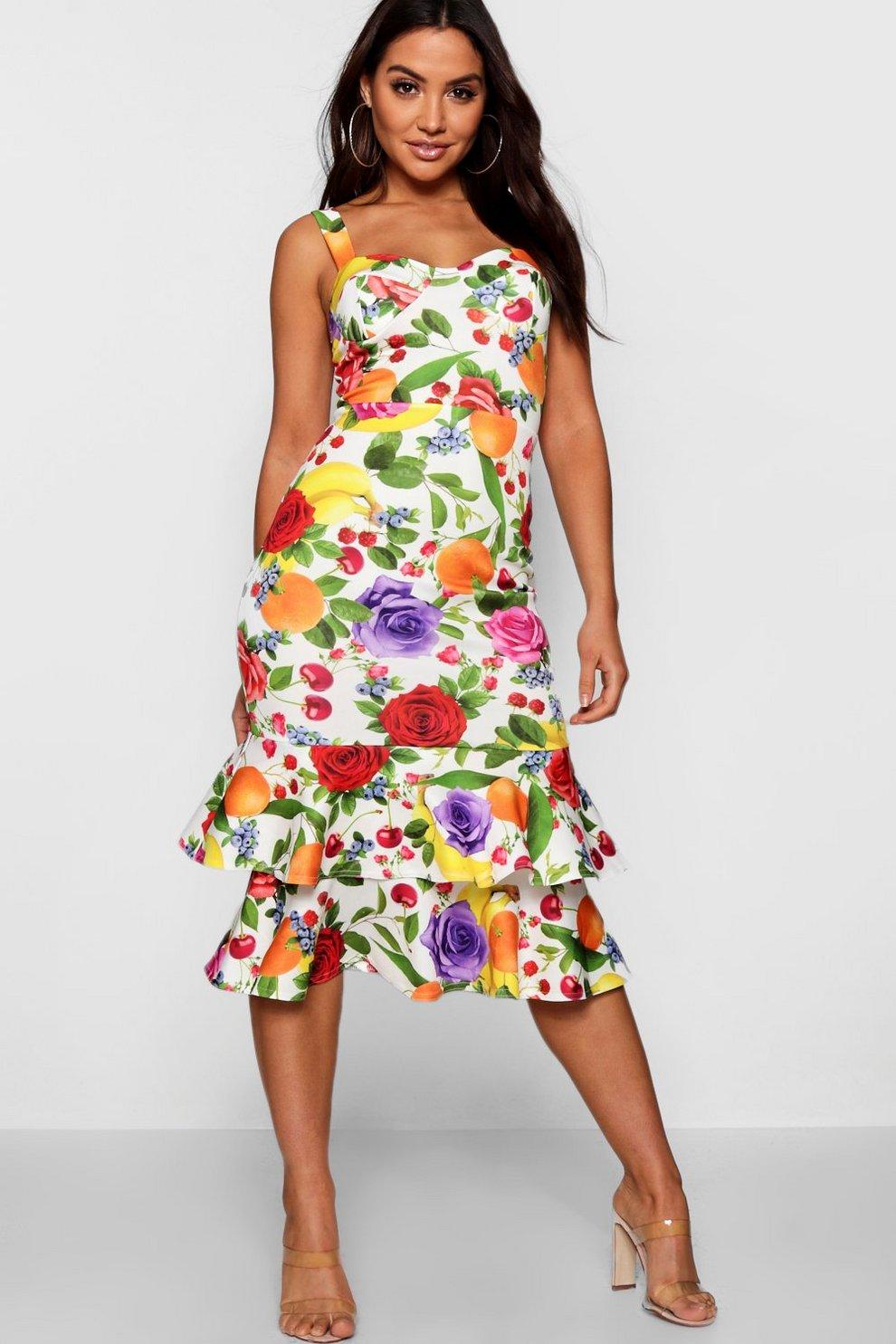 b5eadd69c3 Zoey Floral Fruit Print Frill Hem Midi Dress