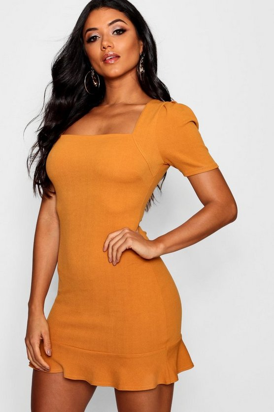 Puff Sleeve Frill Hem Bodycon Dress