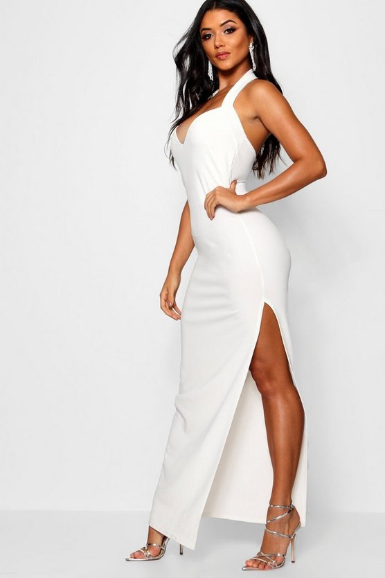 Halter Strap Sweetheart Maxi Dress