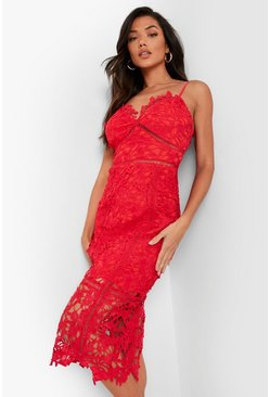 Womens Berry Lace Panelled Open Back Midi Dress