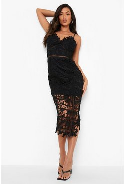 Black Lace Panelled Open Back Midi Dress