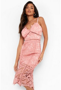 Womens Blush Lace Panelled Open Back Midi Dress