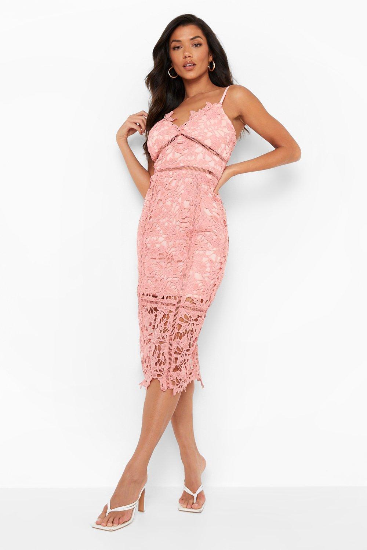 766f45f1593 Boohoo Womens Lace Panelled Open Back Midi Dress in Blush size 8