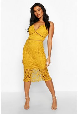 Mustard Lace Panelled Open Back Midi Dress