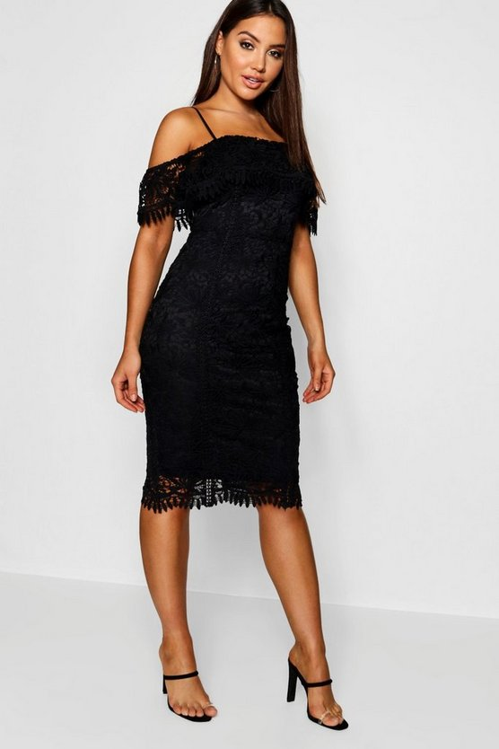 Black Crochet Cold Shoulder Midi Dress