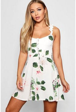 Womens Ivory Floral Print Ruffle Strap Skater Dress