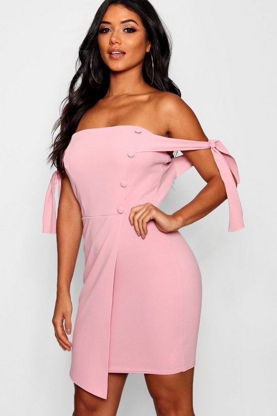 Tia Off Shoulder Button Detail Wrap Dress