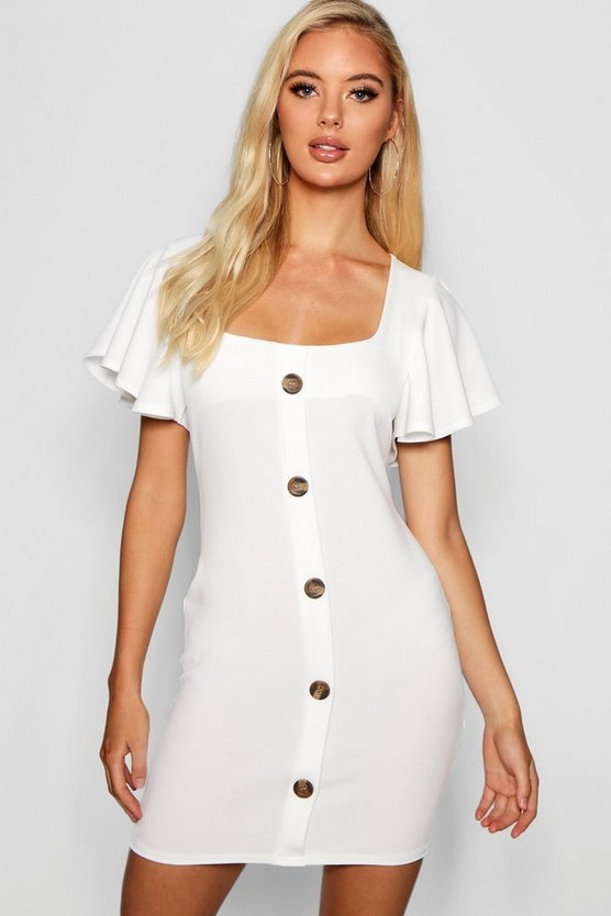 Riley Frill Sleeve Button Detail Bodycon Dress