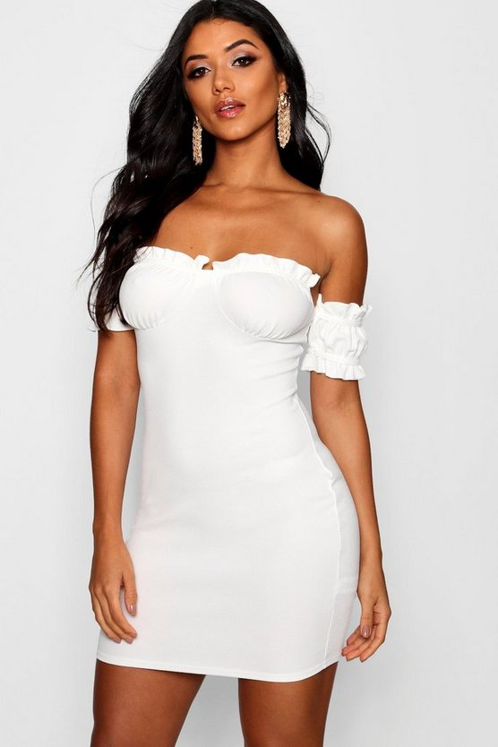 Womens Ivory Off the Shoulder Frill Detail Bodycon Dress