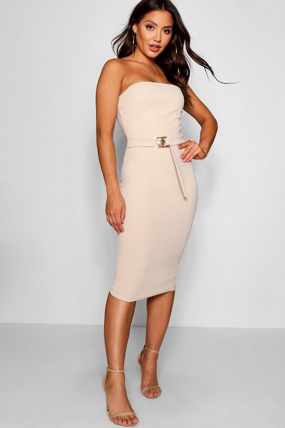 Bandeau Belted Midi Dress