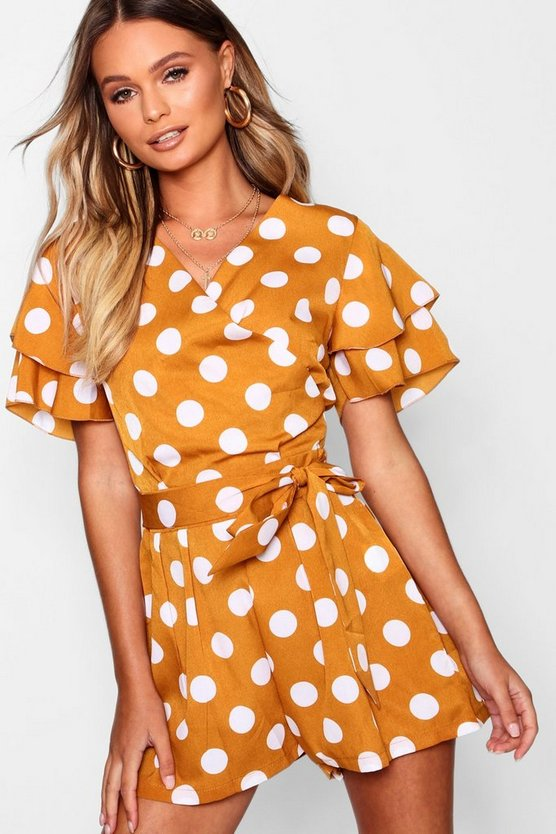 Flutter Sleeve Large Polka Dot Playsuit