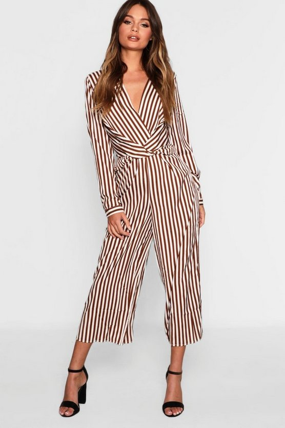 Womens Chocolate Plunge Twist Front Culotte Jumpsuit