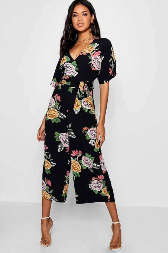 Womens Black Large Floral Capped Sleeve Jumpsuit