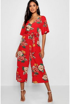 Red Large Floral Capped Sleeve Jumpsuit