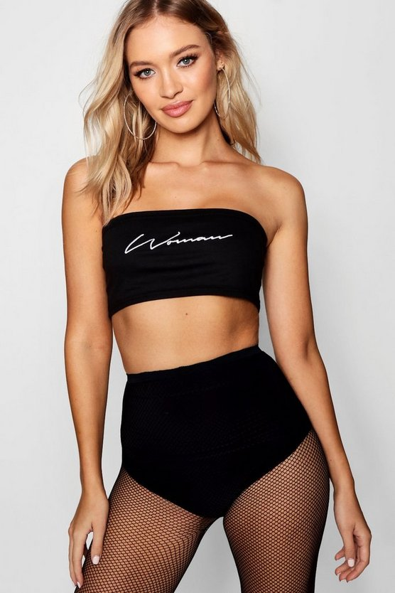 Womens Black Embroidered Woman Slogan Bandeau