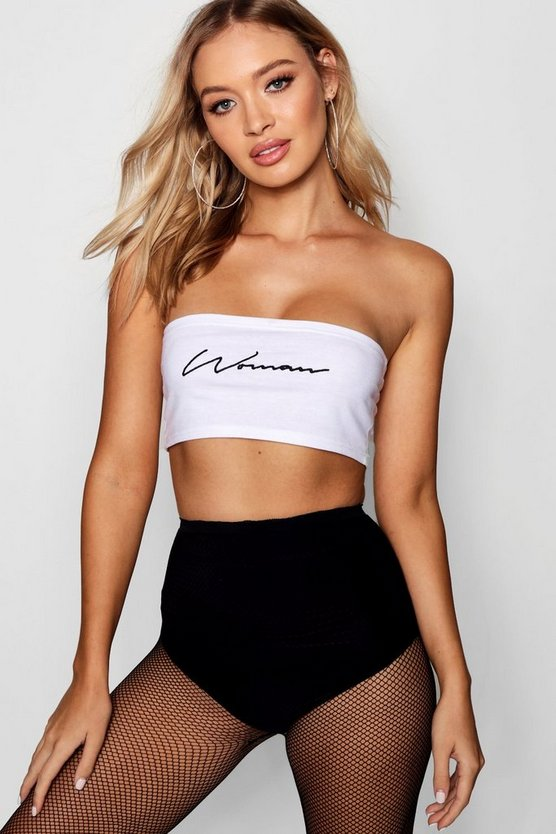 Womens White Embroidered Woman Slogan Bandeau
