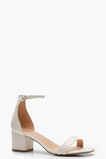Womens White Low Block Two Part Heels