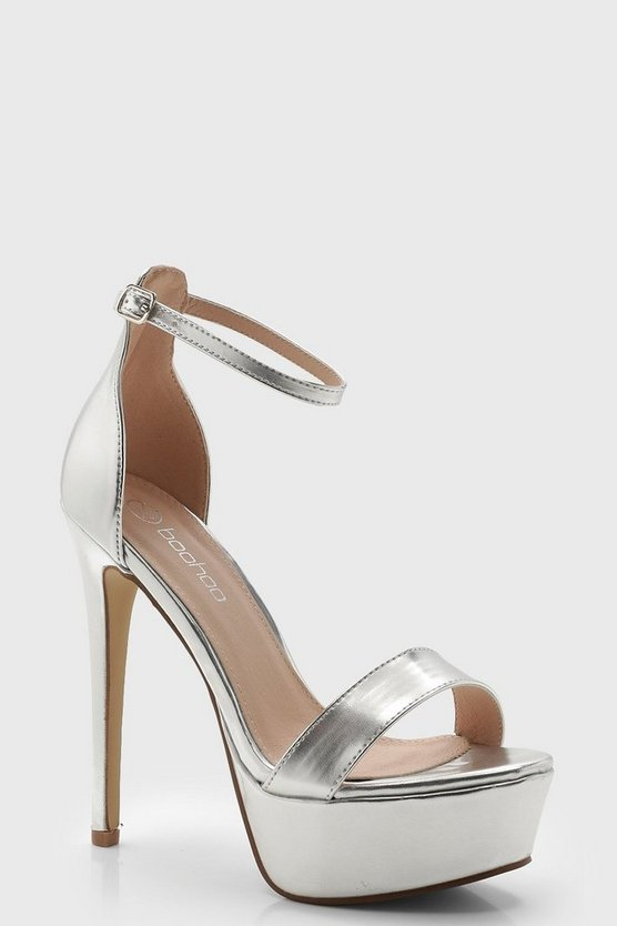 Womens Silver Two Part Sky Scraper Platform Heels