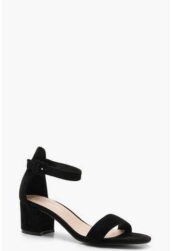 Womens Black Low 2 Part Block Heels