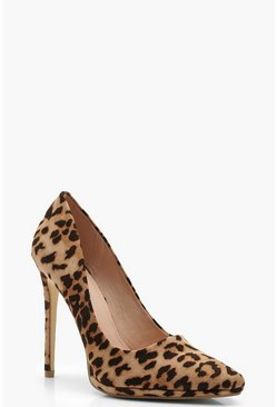 Womens Platform Pointed Leopard Court Shoes