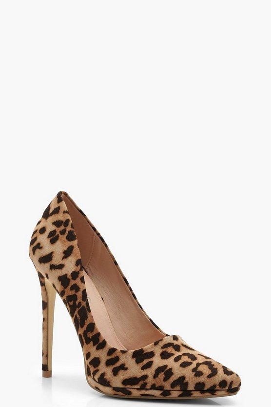 Womens Leopard Platform Pointed Leopard Court Shoes